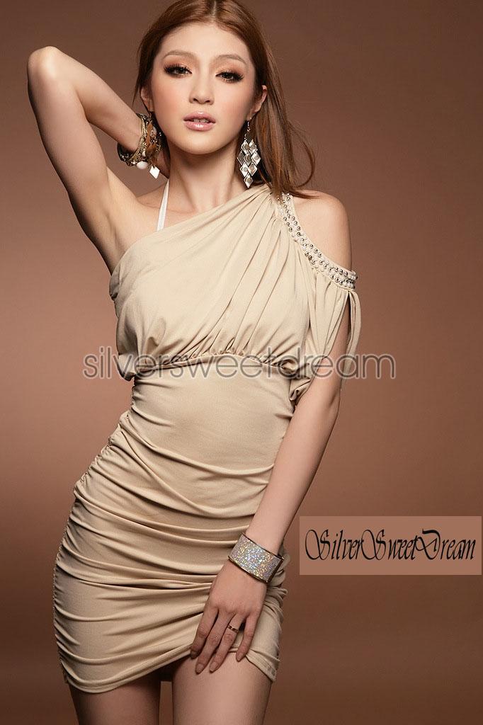 Vestito beige perle perline elegante cerimonia sera monospalla donna ... e865afe3608