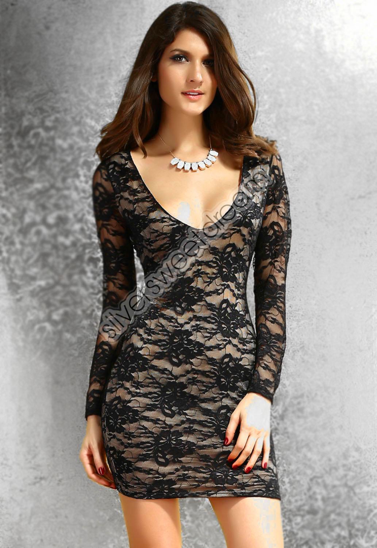 Vestito vestitino ILLUSIONE OTTICA SEXY pizzo nero beige mini abito ... 99cbd064053